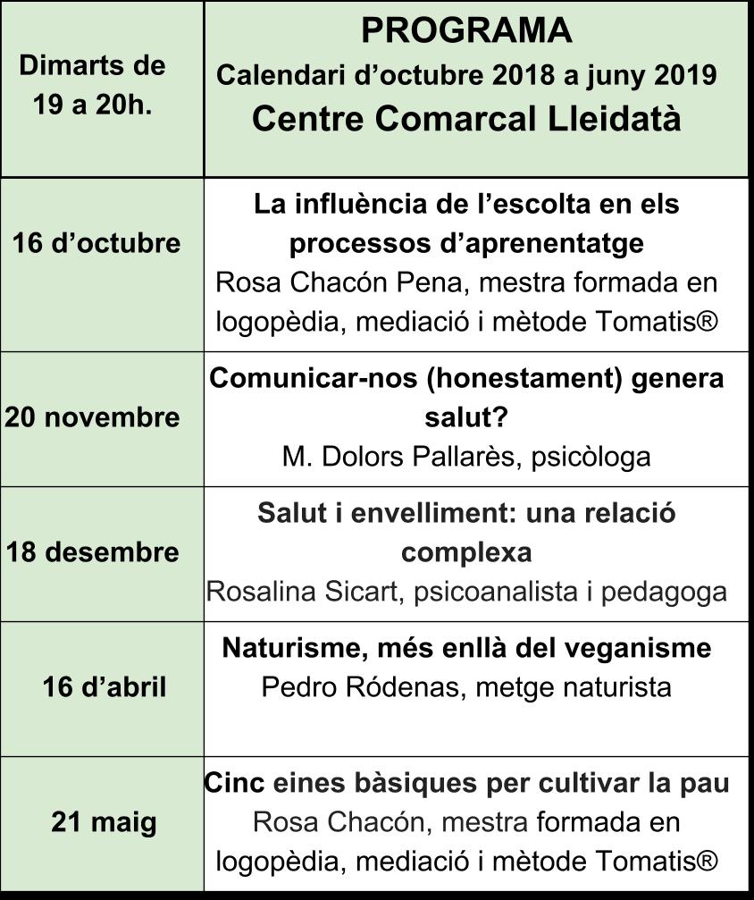 Programa Centre Comarcal Lleidatà 2018-2019 (4)