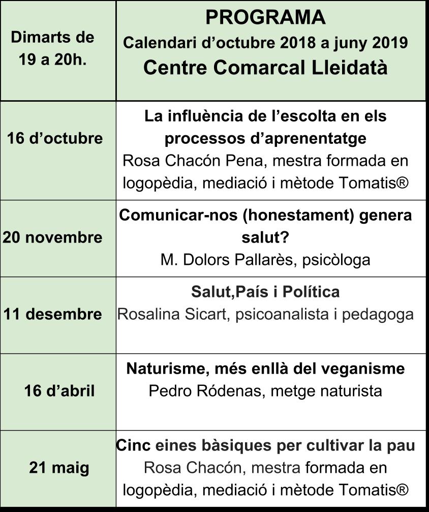 Programa Centre Comarcal Lleidatà 2018-2019 (6)